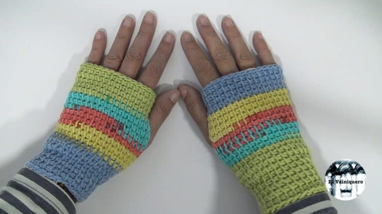 Mitones sin dedos Crochet tunecino